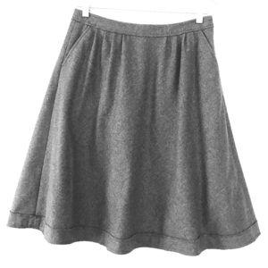 ☃️ Banana Republic 4 Gray Wool Full A-line Skirt